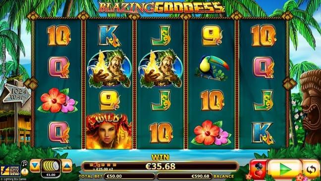 Призовая комбинация с диким знаком в игре Blazing Goddess