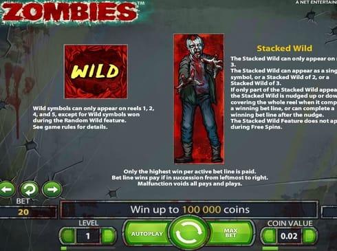 Символы Wild в игре Zombies онлайн